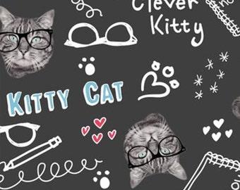 Kitty Cat, fond noir, 34180101, col 02, Camelot Fabrics, cotton, cotton quilt, cotton designer