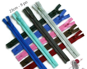 YKK, 23cm, zipper, 9 pouce, #3, nylon, perfect for wallets, clothing, repair,