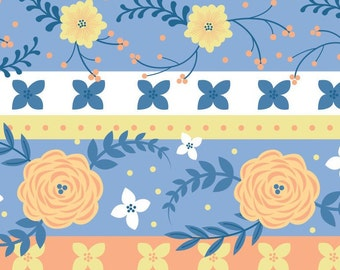 Strip, Flowers, orange, blue, Do what you love, 2241502, col 02, Camelot Fabrics, cotton, cotton quilt, cotton designer