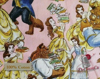 END OF BOLT, Belle and the Beast, Disney, multiple quantity cut in one piece, 100% Cotton