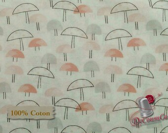 Mushroom, Nature, Édition Fabric, multiple quantity cut in one piece, 100% Cotton,
