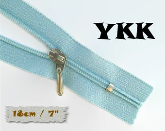 YKK, 18cm, Light blue, Zipper, Cursor 3C, 7 Inch, Metal Slider, Zipper, Non-Detachable, vintage, 1980, Z100