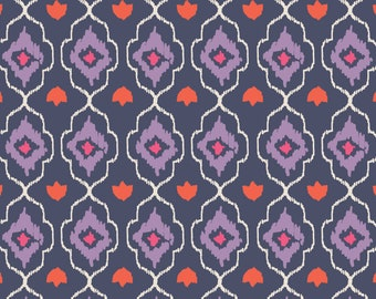 Amira, orange, violet, navy, 27170103, col 1, Camelot Fabrics, 100% Cotton, (Reg 2.99-17.99)