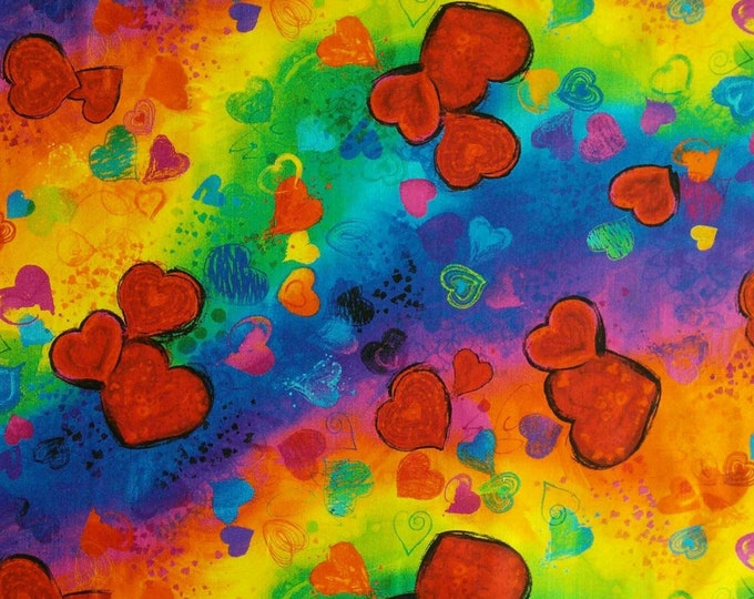 Featured listing image: Rainbow, Full Heart, Timeless Treasures, 6662, cotton quilt, cotton designer