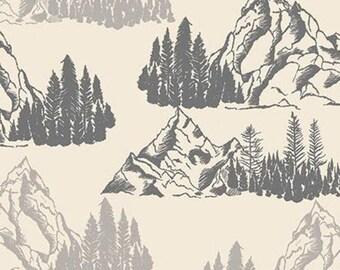 Mountains Pine Trees, Cream, Timberland, 10331, Riley Blake, cotton quilt, cotton designer, (Reg 3.76-21.91)
