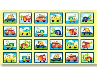 "Panel, 24 prints, Camping, 24"" X 44"", (60cm x 115cm), 3867P, Jungle Camp, Studio E, Multiple quantity cut 1 piece, (Reg 13.15)"