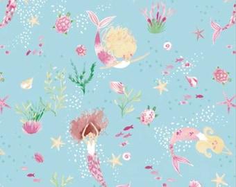 Mer Girls, aqua, 71190110, col 01, The Girls Collection, Camelot Fabrics, cotton, cotton quilt, cotton designer