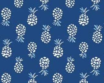 Abstract Pineapple, navy, 71180308, col 02, By The Sea, Laura Ashley, Camelot Fabrics, 100% Cotton, (Reg 2.99-17.99)