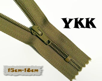 YKK, 15cm-18cm, Zipper, Cursor 5C, Taupe, 6-7 Inch, Metal Slider, Zipper, Non-Detachable, vintage, 1980, Z07