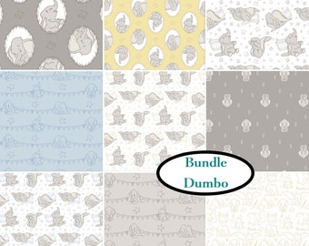 Bundle, 9 prints, Disney, Dumbo, 100% Cotton, quilt cotton