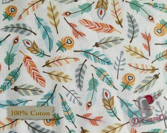 Plume, fond écru, Camp-a-Long, Studio E, 4005, multiple quantity cut in one piece, 100% Cotton, (Reg 2.99 - 17.99)