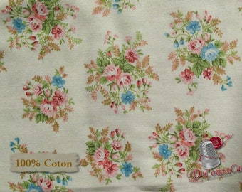 Flower, pink, white, Morning in the garden, Mary Jane Carey, multiple quantity cut in 1 piece, 100% Cotton, (Reg 2.99-17.99)