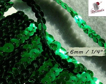 """Sequin ribbon, metallic green, sequin, braid, 6mm, (1/4 """"), by the yard, RB01,"""