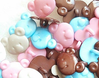 SALE, 25 Buttons, 17mm, Head Pooh, vintage, BF21, (Reg 10.00)