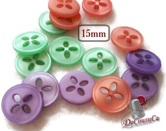 15 buttons, 15 mm, lilac, ment green, light corail, 4 holes, BA66