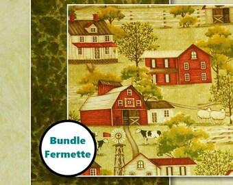 3 prints, Farmhouse, ivory, olive green, Henry Glass, collection, match, bundle, 100% cotton, (Reg 11.97 - 53.97)