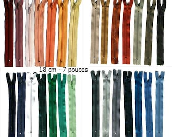 Kit 28 zippers, 18cm, 7 inchs, varied color, nylon, perfect for wallets, clothing, repair, creation,