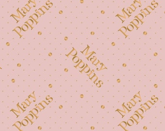 Mary Poppins, gold metallic, pink, 85460104L, col 02, Camelot Fabrics, cotton, cotton quilt, cotton designer