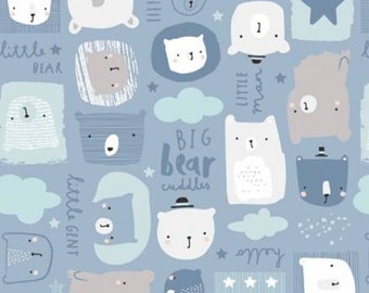 Bear, blue, 21185501, col 01, Big Bear Cuddles, Camelot Fabrics, 100% Cotton