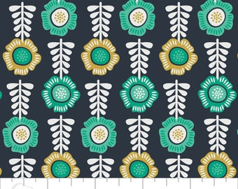 Botanical, flower, navy, 2240106, Alisse Courter, Camelot Cotton, will be delivered in one piece, 100% Cotton