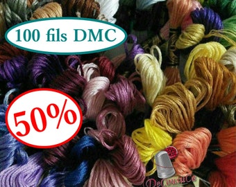 50%,  Kit 100 Embroidery, thread, DMC, Mouliné 25, art 117 No. 25, 8 meters each skein, cotton, 100 colors differents
