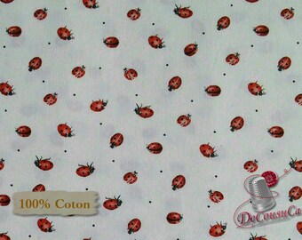 Ladybug, white background, Poppy Perfection, Janes's Garden, Henry Glass & Co, multiple quantity cut in 1 piece, (Reg 2.99-17.99)