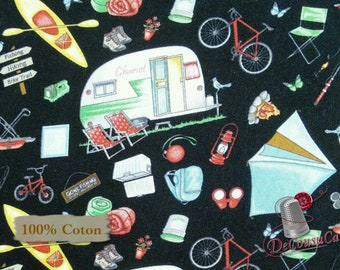 Camping, black, Happy Camper, by City Art Studio, 1332, Henry Glass & Co, multiple quantity cut in 1 piece, 100% Cotton