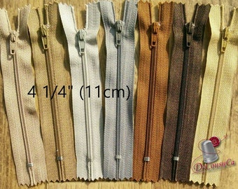 Kit 3 zippers, 11cm, 4 1/4 inchs, nylon, #3, perfect for wallets, clothing, repair, creation, Z11