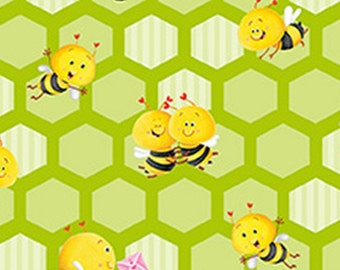 Small honeycomb, Bees, green, BUSY BEES, 1413-66, Henry Glass & Co, 100% Cotton