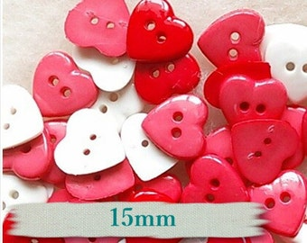 9 buttons heart, 15mm, Heart, Red, White, Rose, vintage,  BF07,