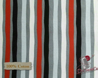 Strip, red, gray, Around Town Christmas, 3715, Studio E, multiple quantity cut in 1 piece, 100% Cotton