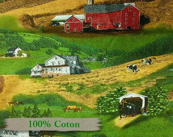 179, Elizabeth's Studio, Covered bridge, horse, 100% Cotton, (Reg 2.99-17.99)