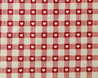 Heart, Checkerboard, red, ivory, 1614, Makower, cotton, cotton quilt, cotton designer
