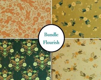 4 prints, Flourish, flower, Camelot Fabrics, Bundle, 1 of each print, 100% coton