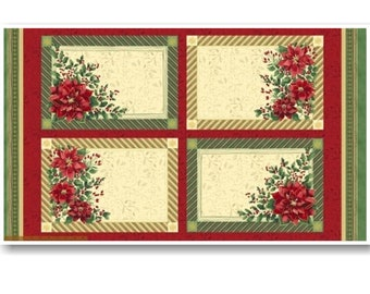 "Panel, 4 placemats, Poinsettia, 12""X42"", (30cm X 110cm) each, Windham Fabrics, 41691, 100% Cotton,"