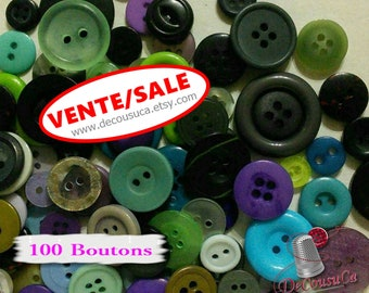 SALE, 100 random buttons basic, 8mm à 28mm, 2-4 holes, green, mauve, blue, navy, gray, various sizes, photo example, BA101, (Reg 20.00)