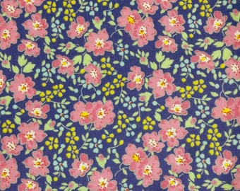 Flower, navy, pink, Édition Fabric, multiple quantity cut in one piece, 100% Cotton