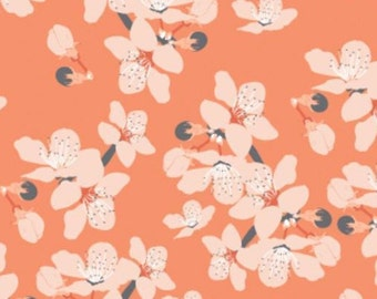 SALE, Flower, orange, 29190102, col 01, Black Swan, Camelot Fabrics, 100% Cotton, (Reg 3.76-21.91)