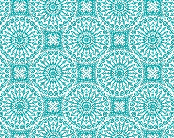 Mandalas, turquoise, Boho Happy, Patrick Lose, 100% Cotton