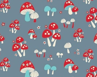 Mushroom, blue-gray background, 61190304, col 02, Enchanted Forest, Camelot Fabrics, 100% Cotton