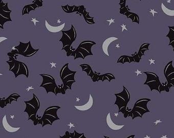 Bat, Halloween, EGGPLANT,  #10572, fabric, cotton, quilt cotton- Spooky Hallow de Riley Blake