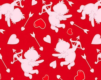 Cupids, red, Love Struck, 1364-22, by Shelly Comiskey, Simply Shelly Designs, Henry Glass & Co, 100% Cotton