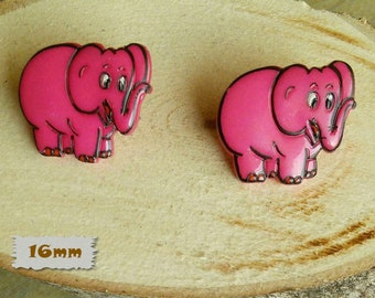 2 Buttons, 16mm, Elephant, fuschia, Vintage, 1980s, Basic Button, Solid Button, GR04