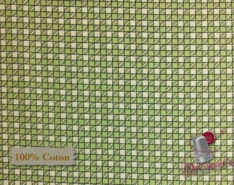 Square green, ivory, Riverwoods, Glamping Gypsies, multiple quantity cut in one piece, 100% Cotton
