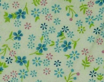 ON SALE, Flannel, Flower, white, blue, pink, fabric,