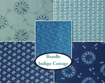Bundle, 5 prints, Indigo Cottage, Henry Glass & Co, quilt cotton, cotton designer, 100% cotton