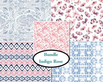 5 FQ, 1/4 yard, 1/2 yard,1 of each, Indigo Rose, Camelot Fabrics, 100% cotton, (Reg 17.96 - 161.91)