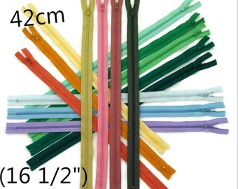 42cm, zipper, #3, 16 1/2 inchs, varied color, varied size, nylon, perfect for wallets, clothing, repair, creation,