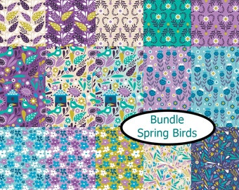 Bundle, 15 prints, Spring Birds, Camelot Fabrics, 100% cotton