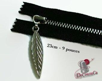 23cm, (Reg 3.50), zipper, 9 pouce, black, silver, leaf 4cm, perfect for wallets, clothing, repair, Z23-9